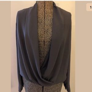 Elodie draped open front gray blouse size medium